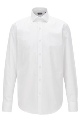 Camisa regular fit de algodón romboidal con puños dobles, Blanco