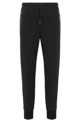 Slim-fit cuffed jogging bottoms in a cotton blend, Black