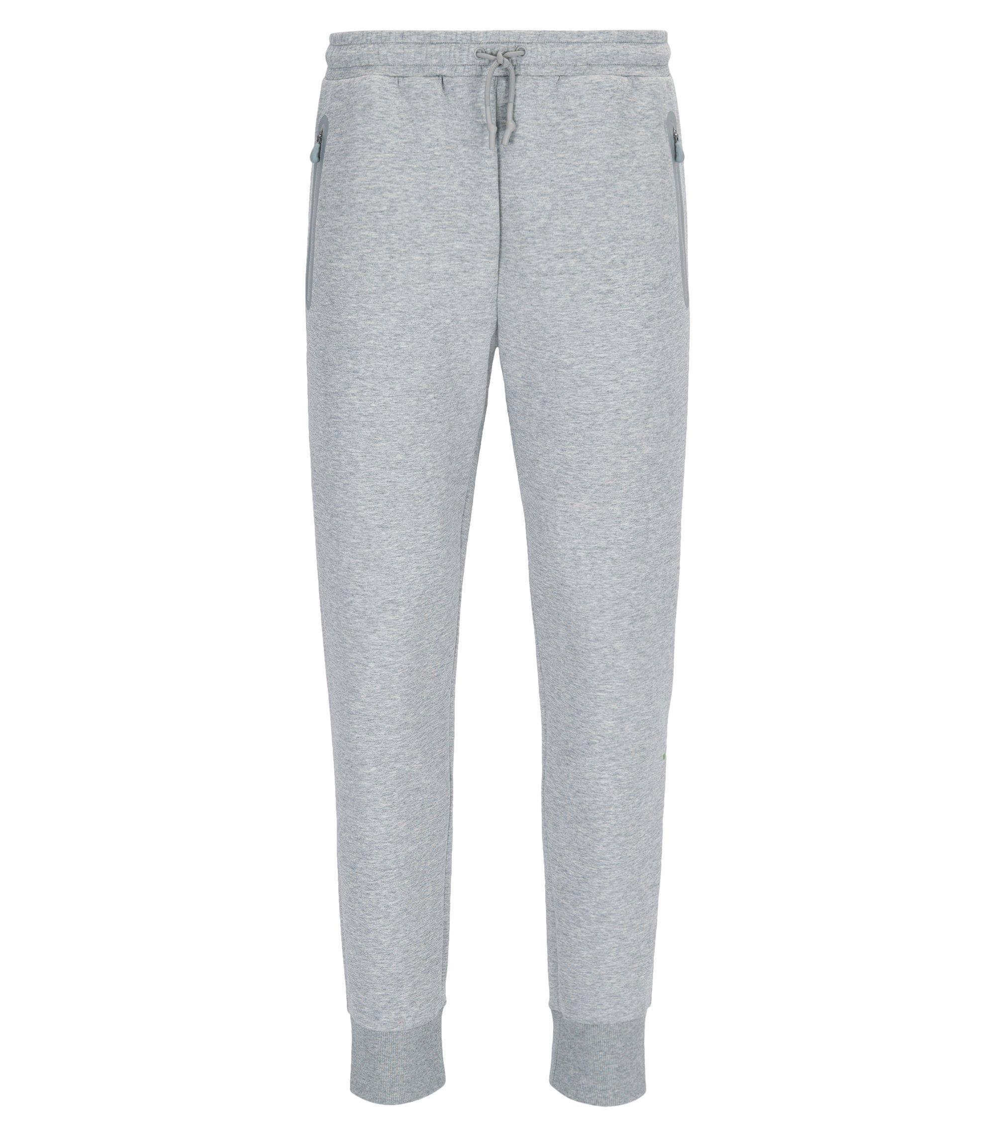 Pantaloni da jogging slim fit con fondo gamba elastico in misto cotone, Grigio chiaro