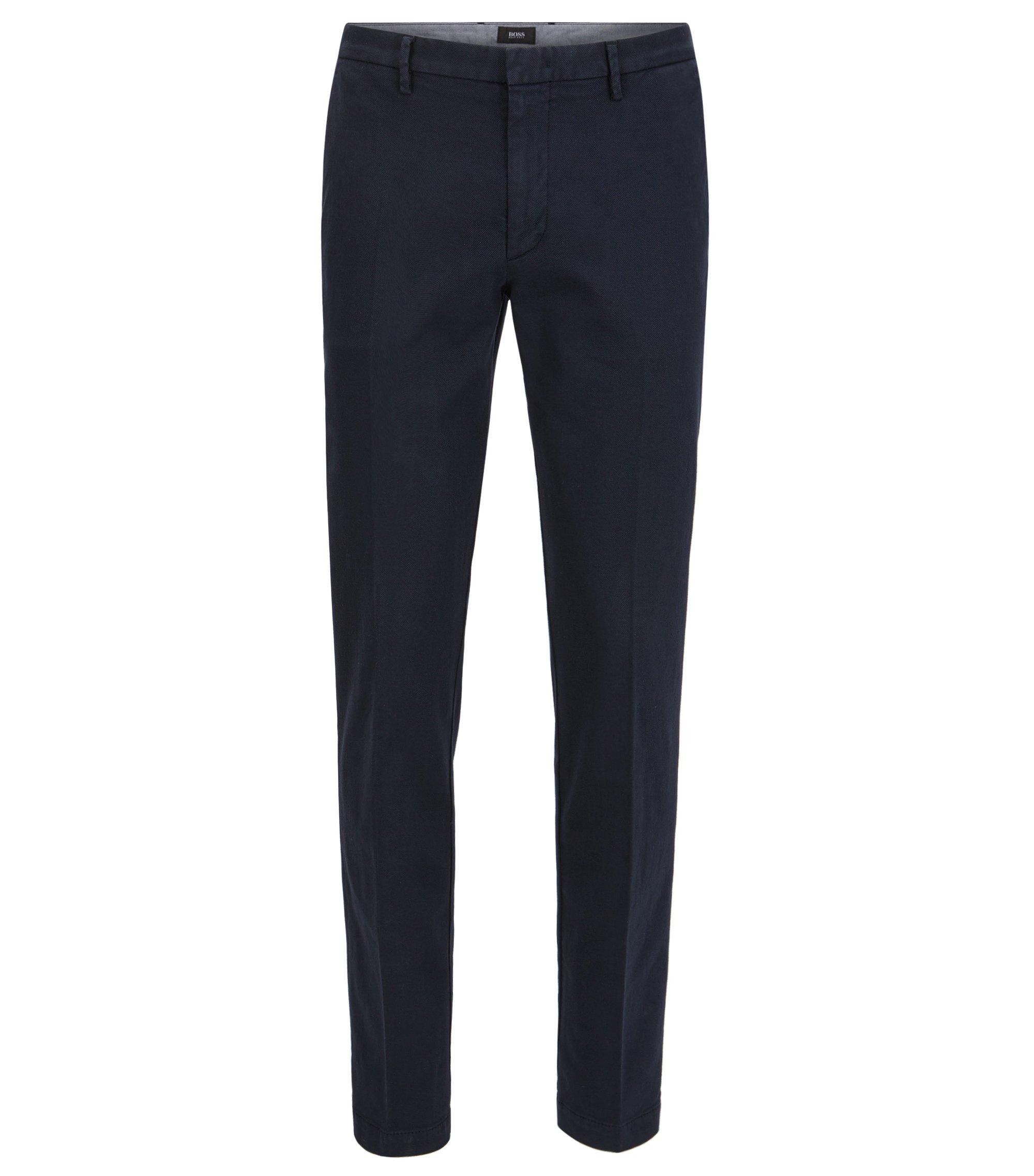Slim-fit chinos in Italian stretch cotton, Dark Blue