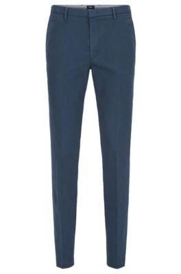 Chino Slim Fit en coton italien stretch, Bleu
