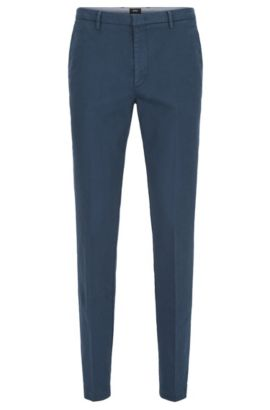 Slim-fit chinos in Italian stretch cotton, Blue