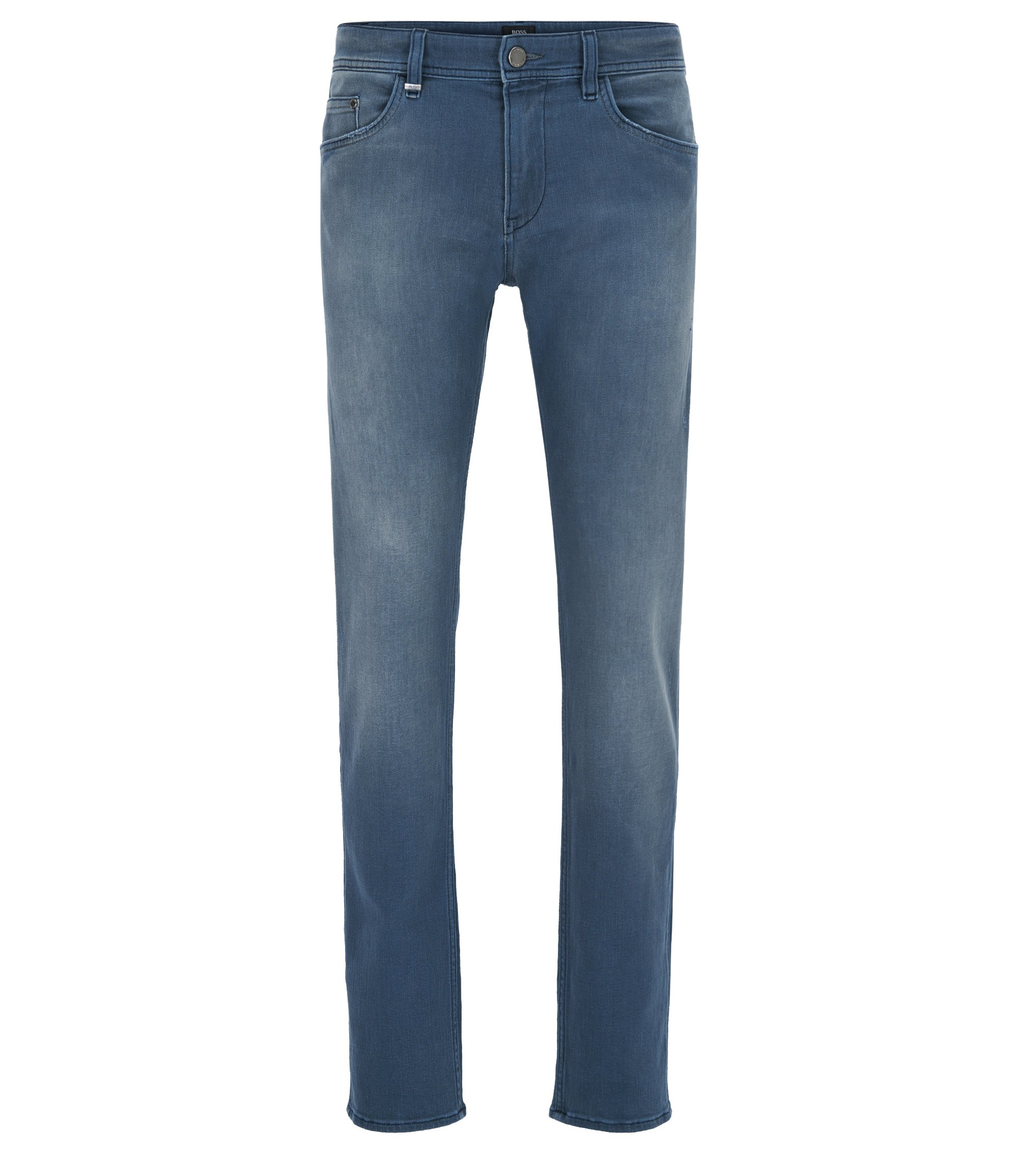 Jean Slim Fit en denim stretch mat, Bleu