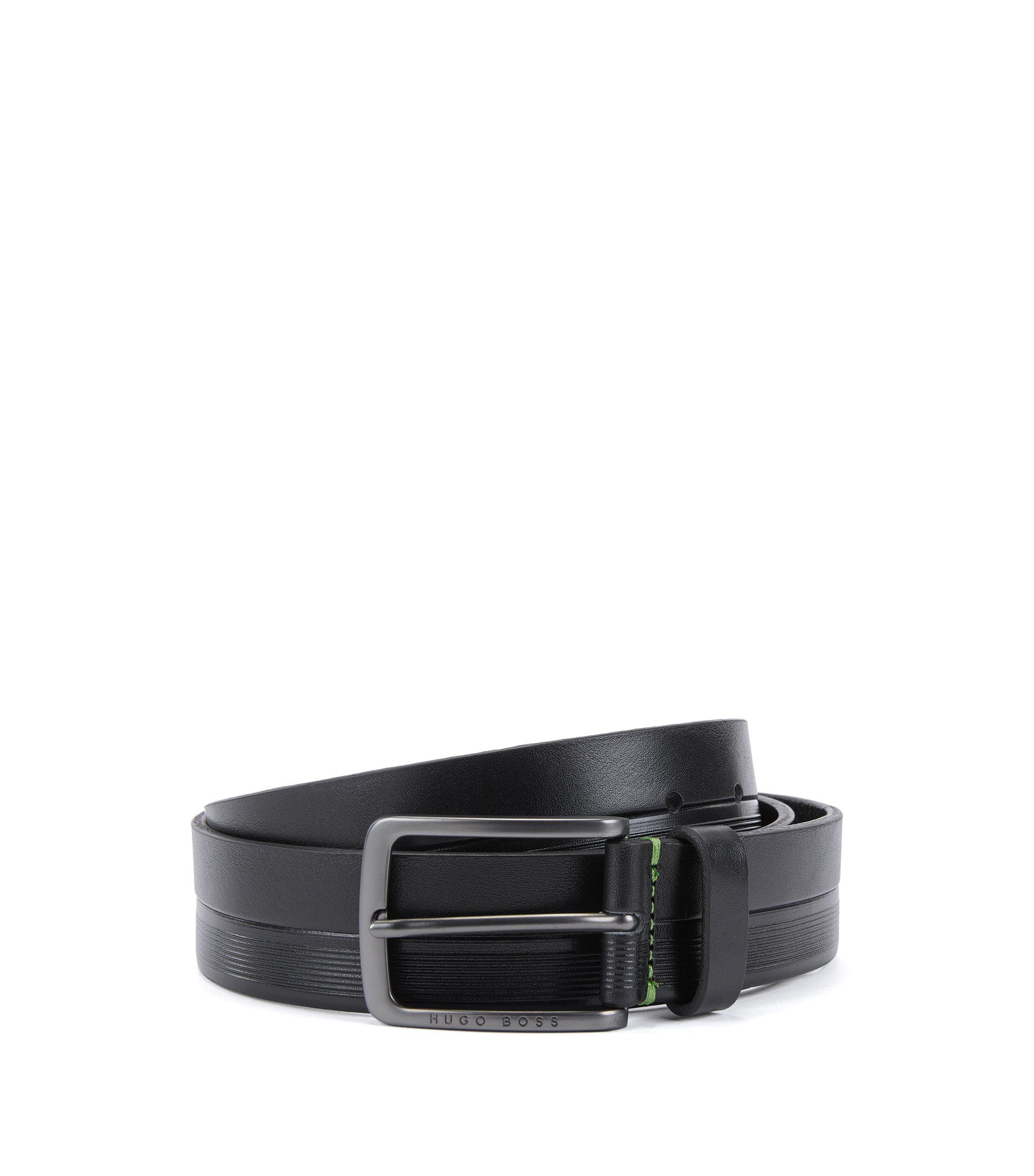 Leather belt with logo-embossed stripes, Black