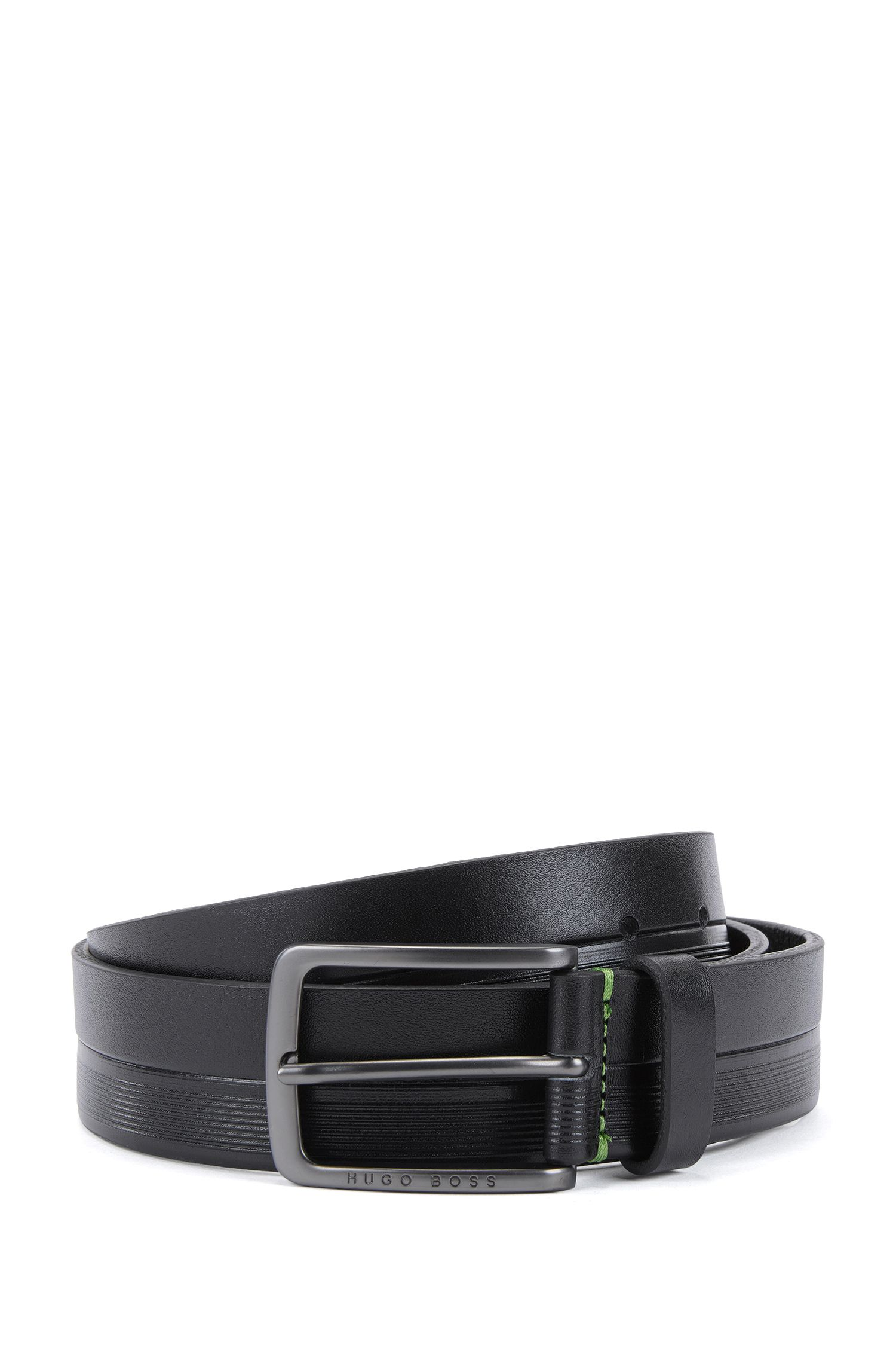 Leather belt with logo-embossed stripes