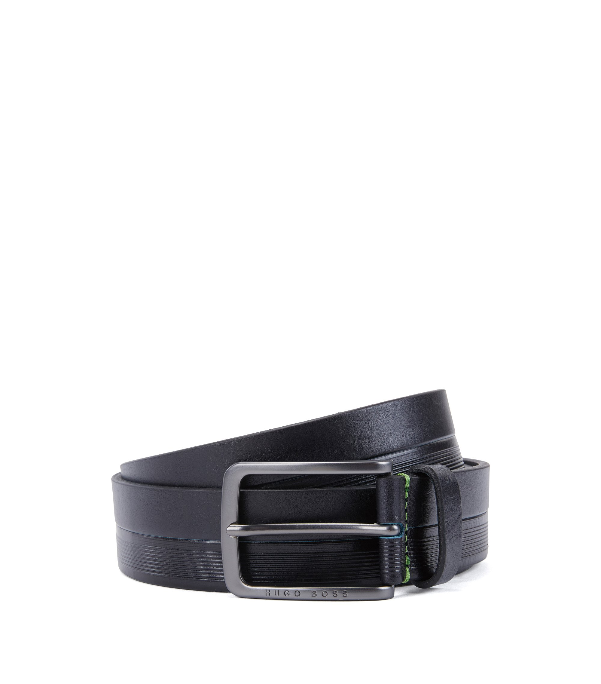 Leather belt with logo-embossed stripes, Dark Blue