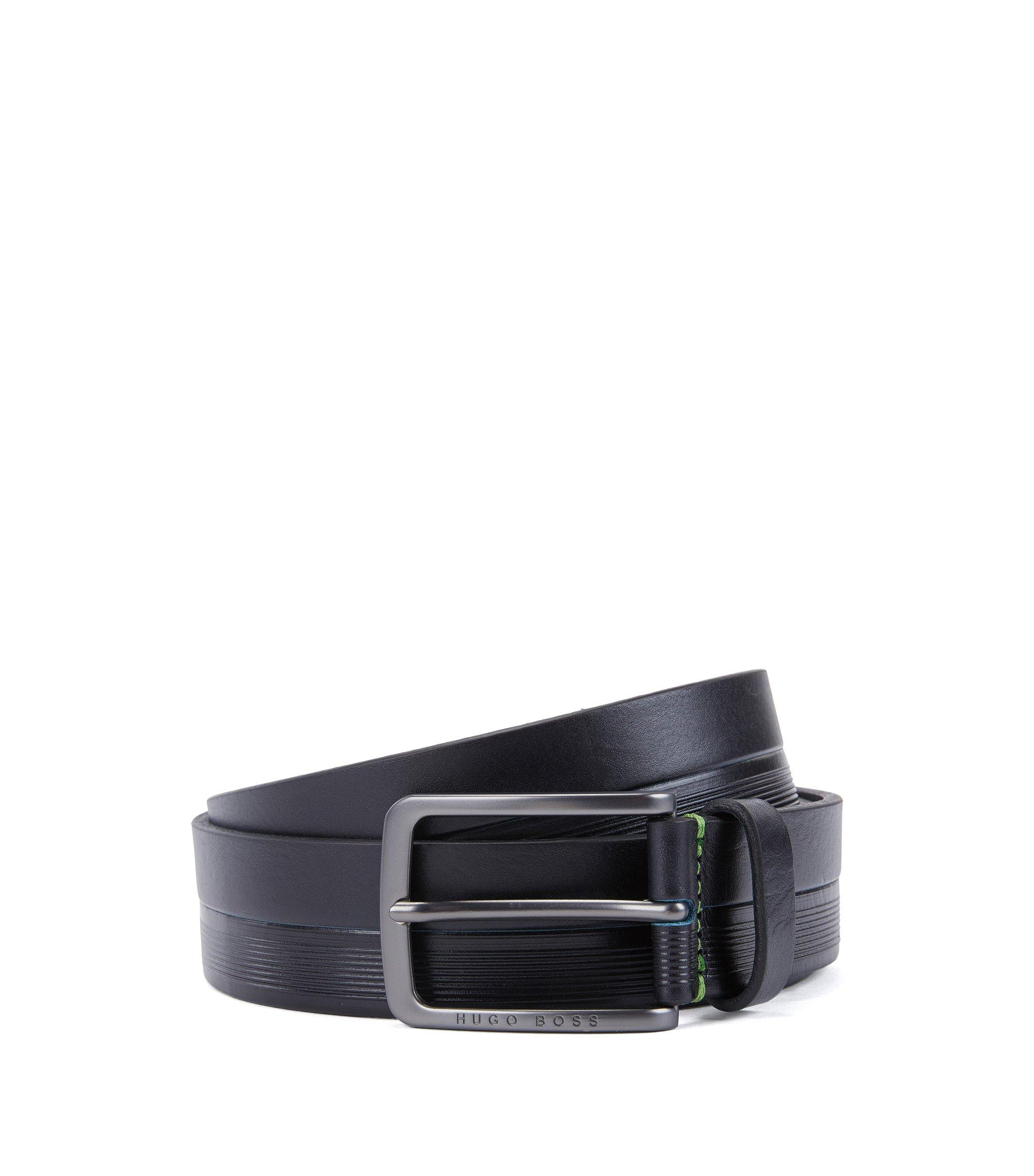 Cinturón de piel con rayas y logos grabados, Azul oscuro