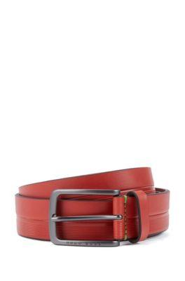 Ledergürtel mit Logo-Streifen-Prägung, Rot