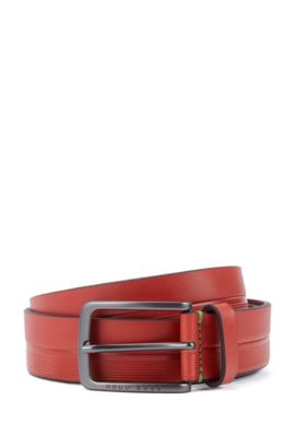 Leather belt with logo-embossed stripes, Red