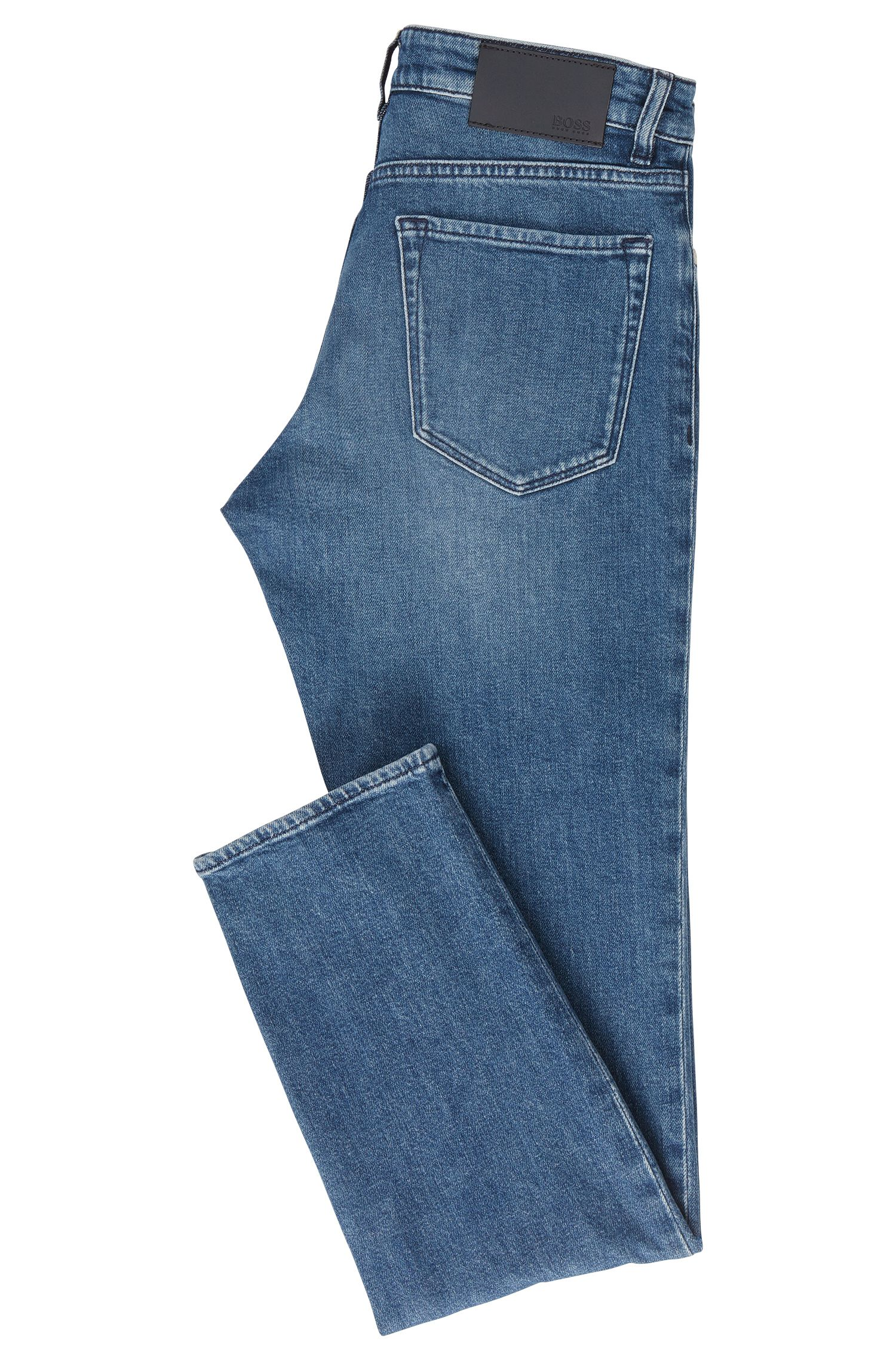 Jeans blu scuro in denim elasticizzato con taglio regular fit