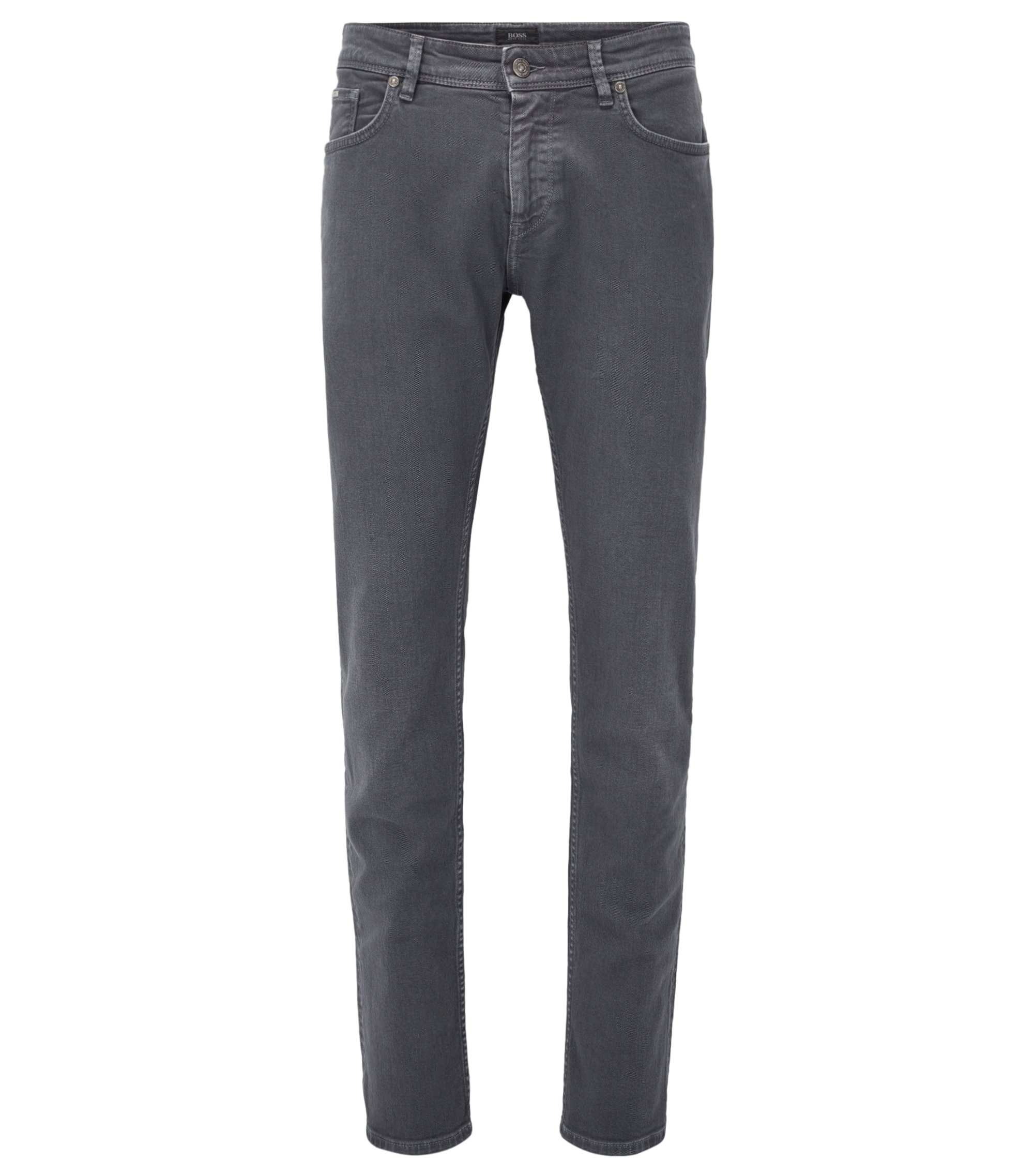 Jeans Slim Fit en denim teint confortable, Gris sombre