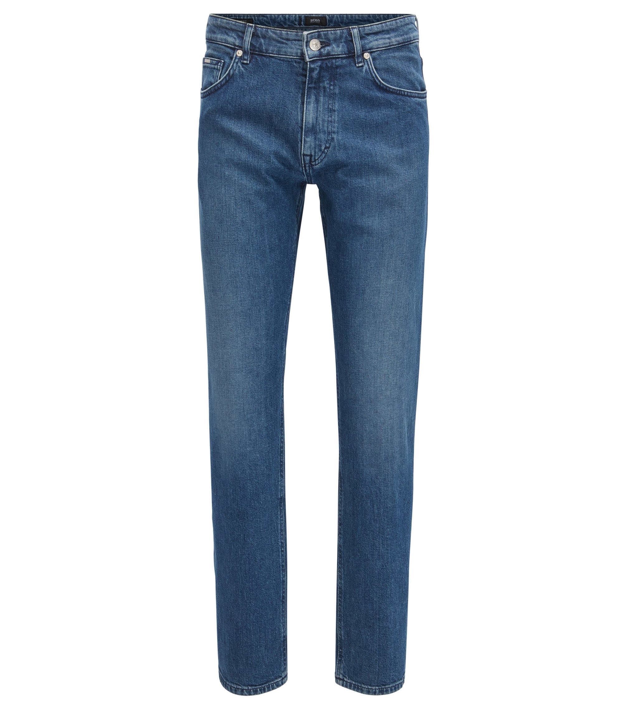 Jeans relaxed fit in denim italiano blu scuro, Blu