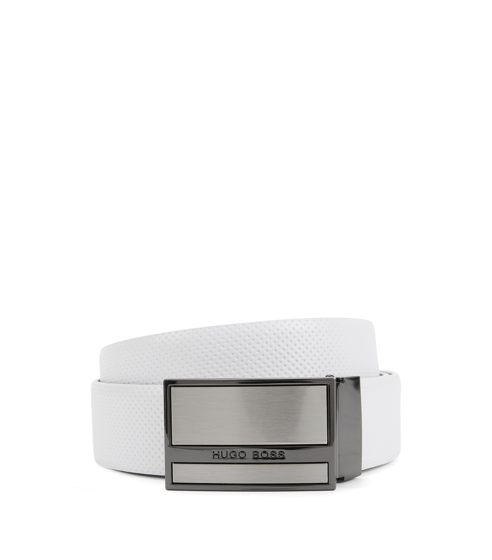 Reversible belt in smooth and perforated leather, White