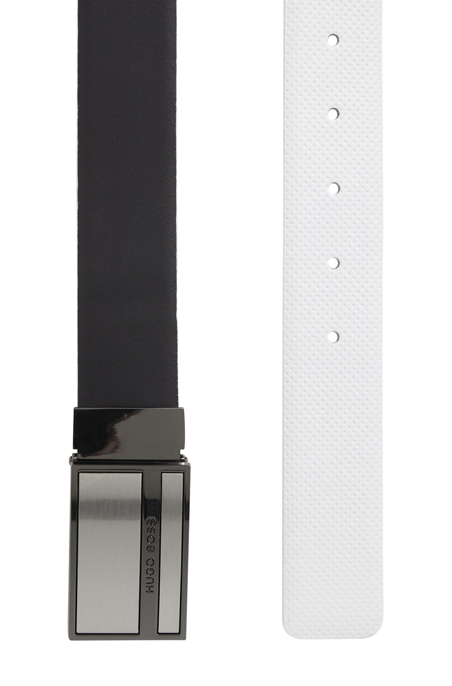 Reversible belt in smooth and perforated leather