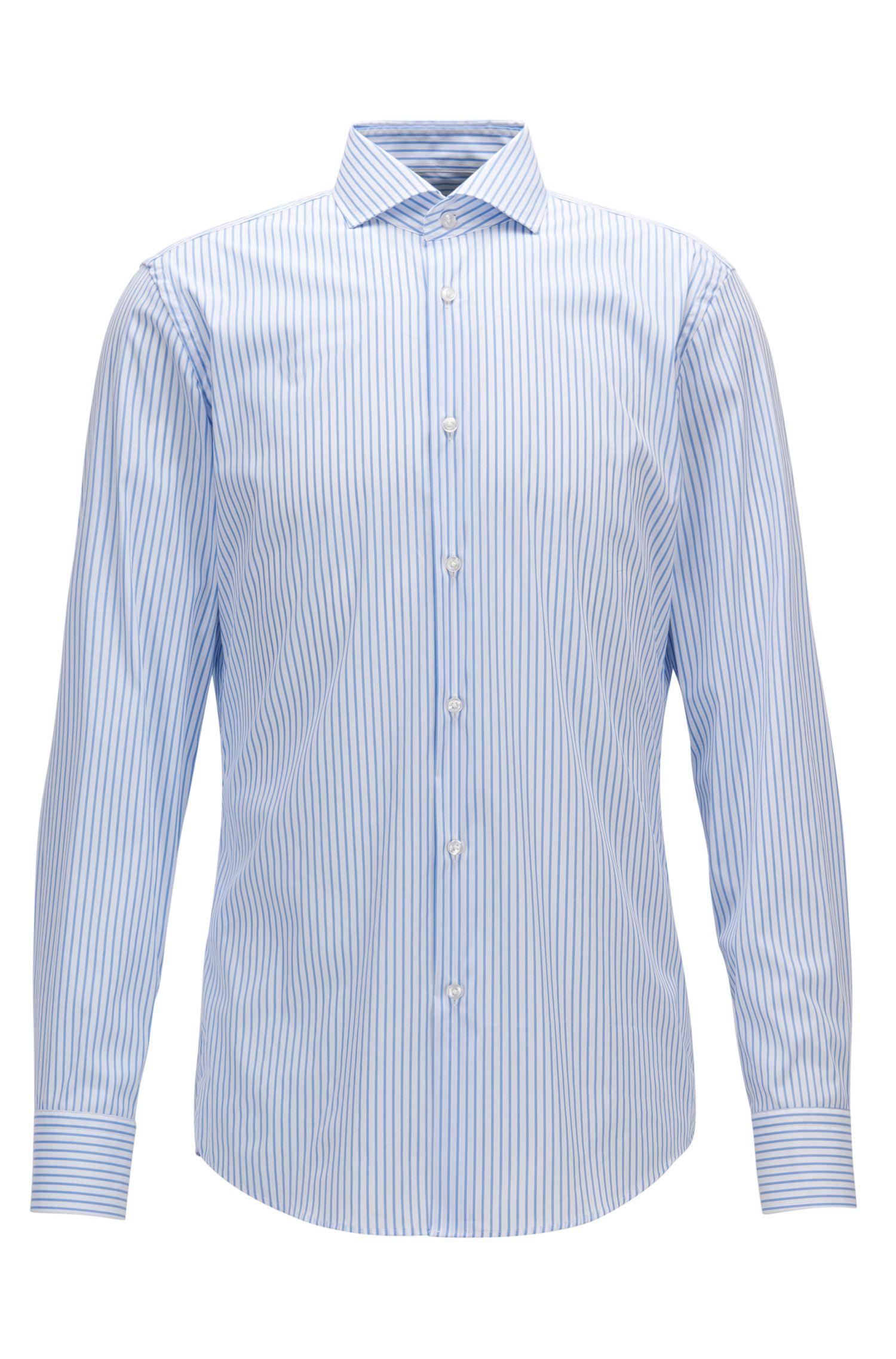 Camisa slim fit a rayas en mezcla de algodón