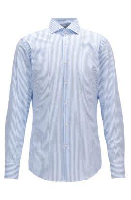 Striped cotton-blend shirt in a slim fit, Light Blue