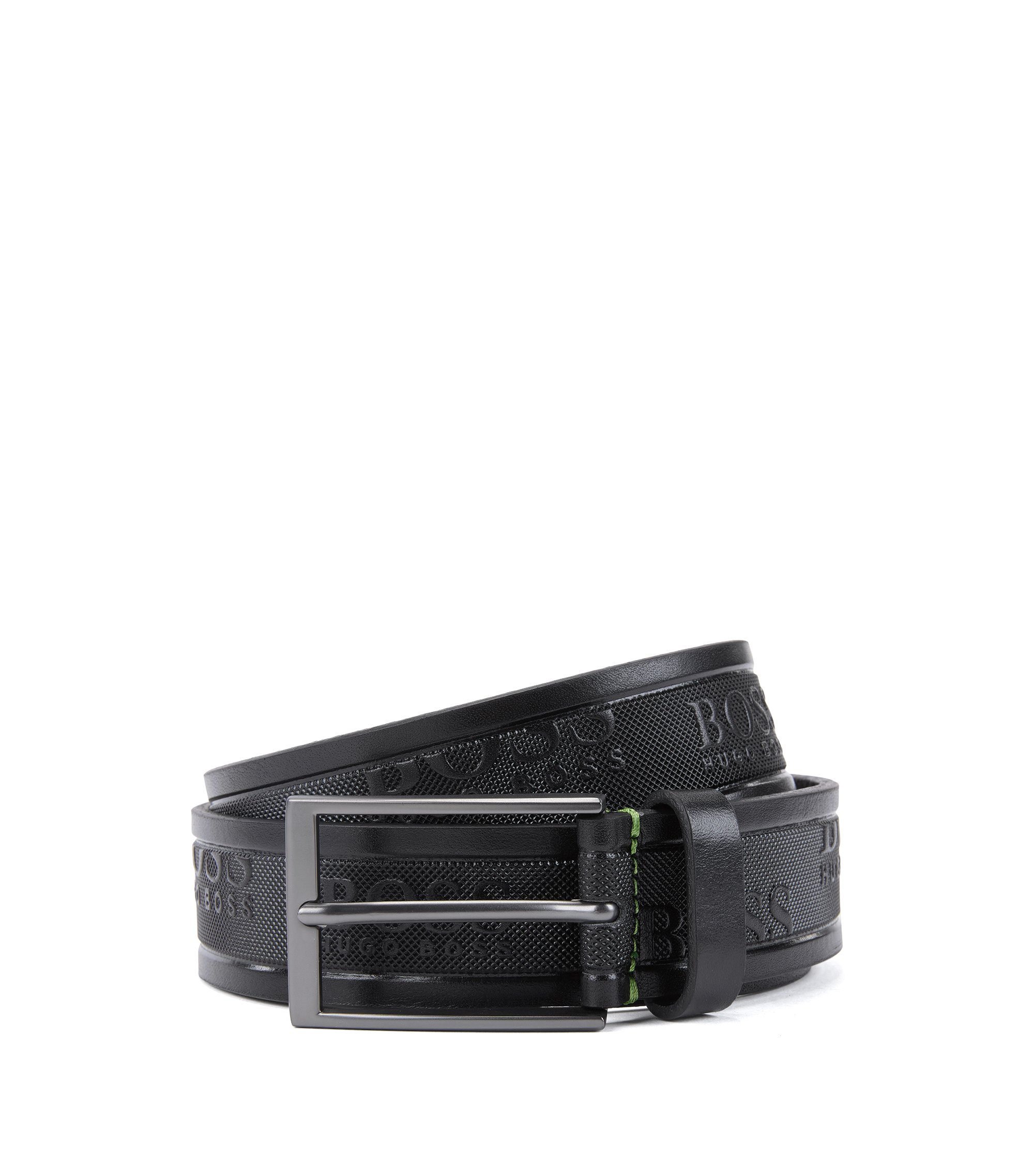 Leather belt with embossed logos, Black