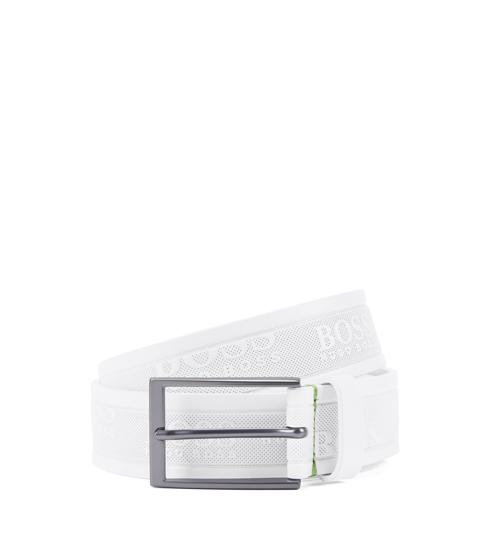 Leather belt with embossed logos, White