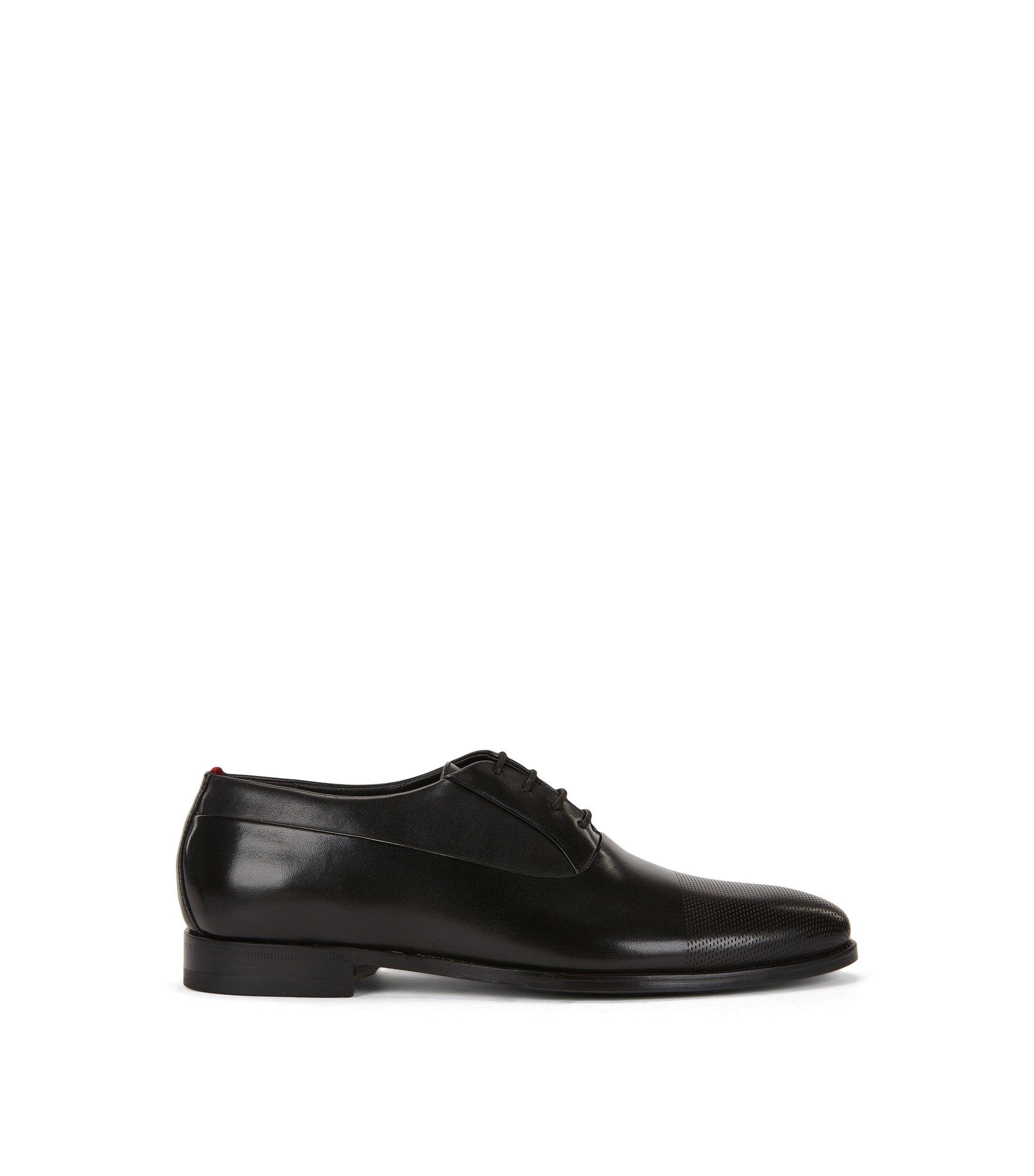 Oxford-Schuhe aus gelasertem Leder, Schwarz