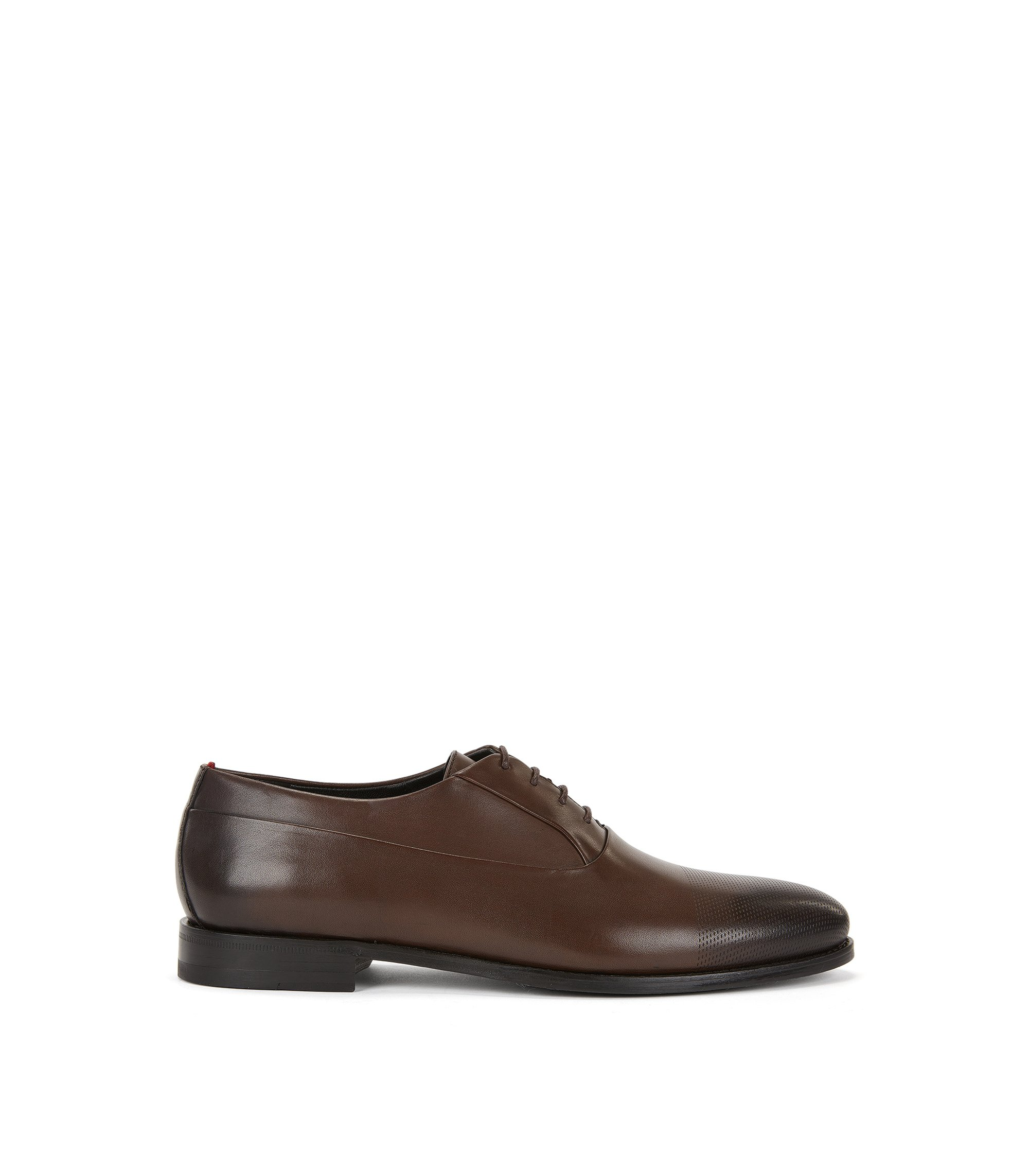 Chaussures Oxford en cuir perforé au laser, Marron foncé