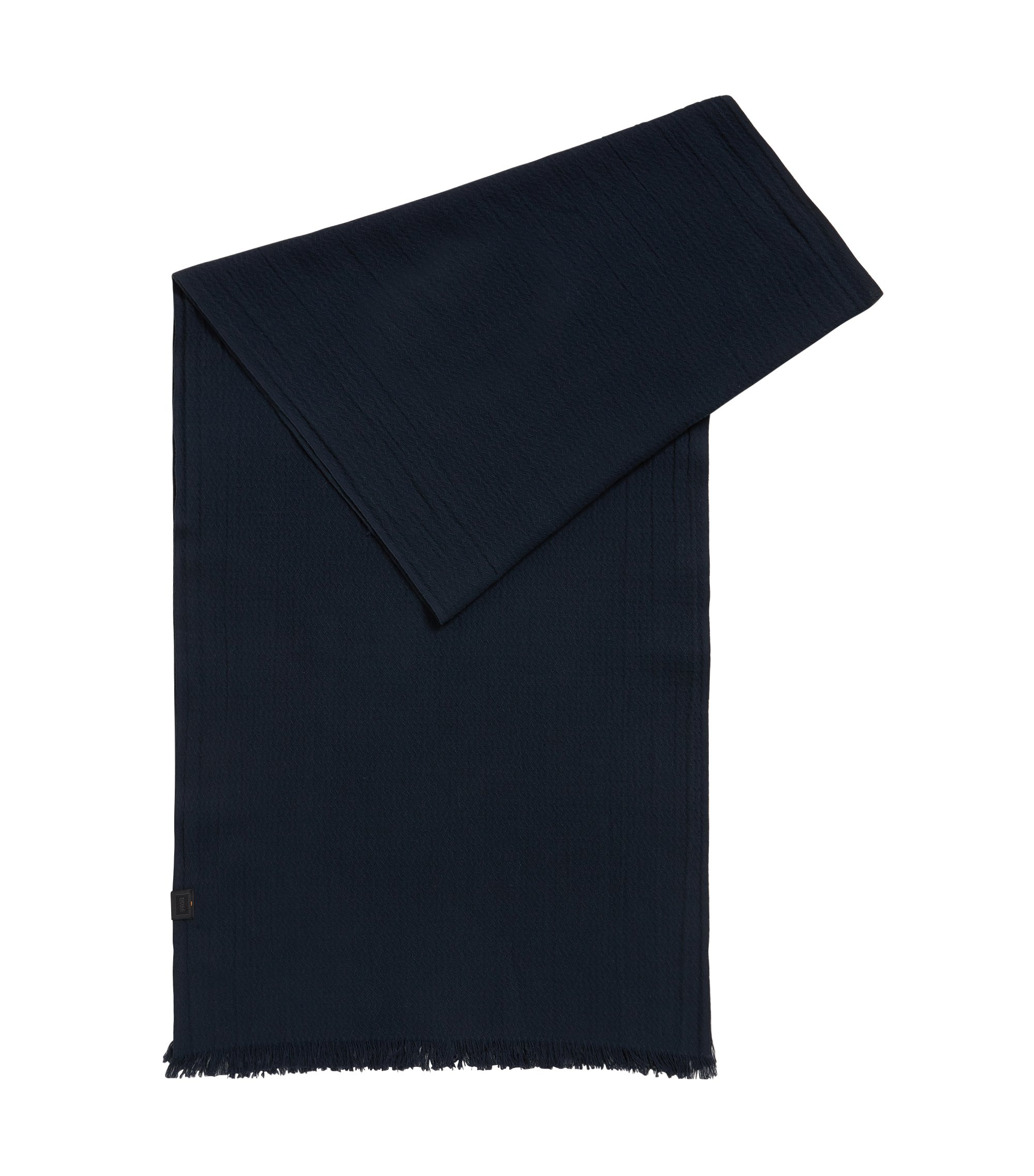Cotton jacquard scarf with all-over structure, Dark Blue