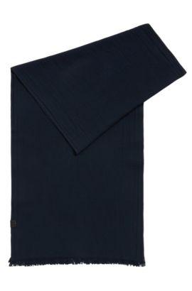 Écharpe en jacquard de coton avec structure all-over, Bleu foncé