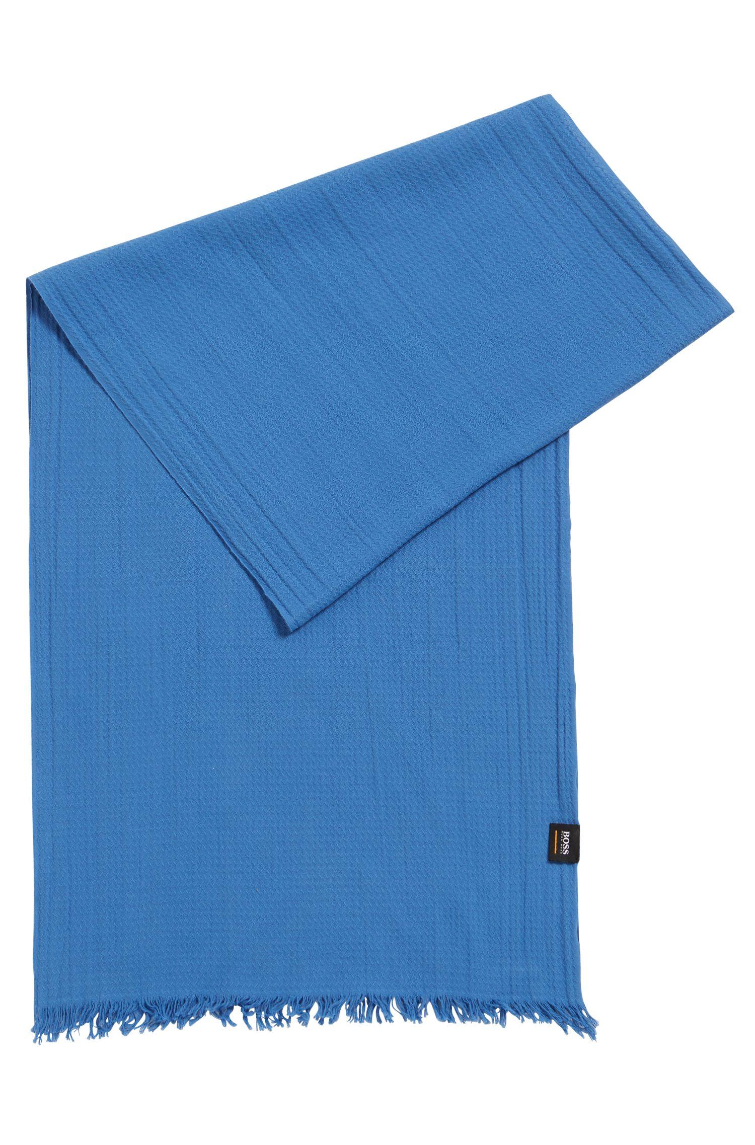Écharpe en jacquard de coton avec structure all-over, Bleu