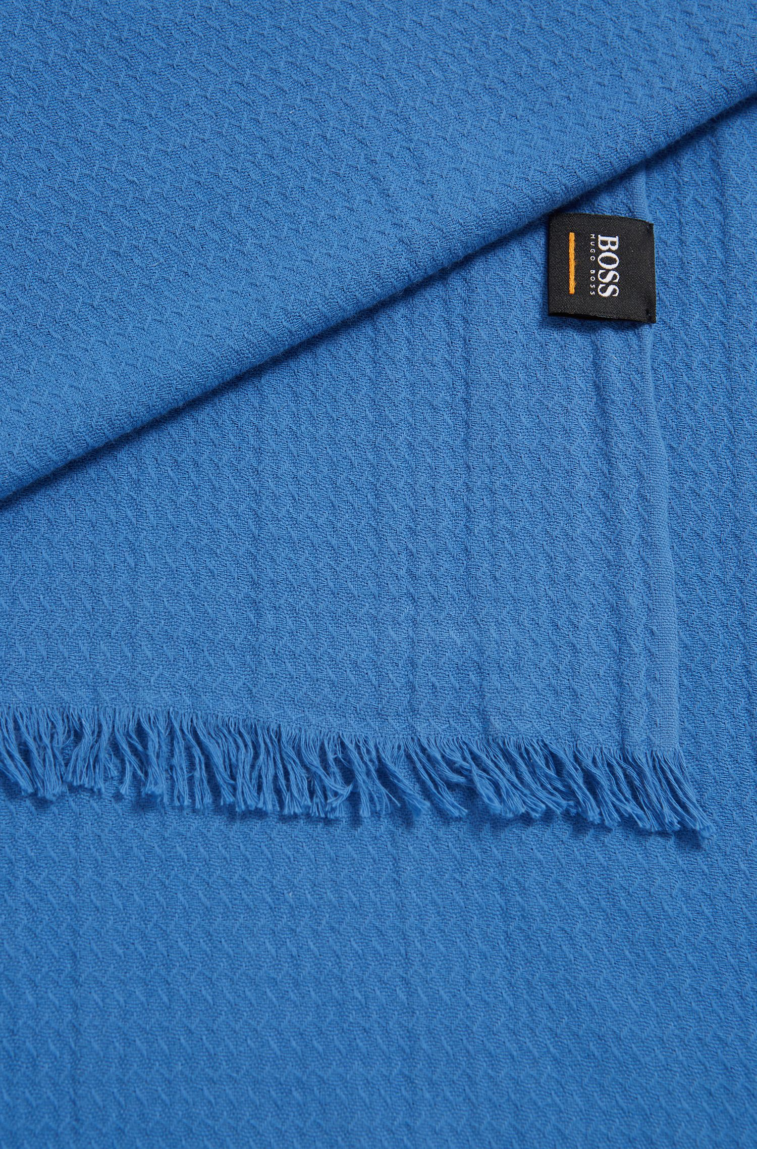 Cotton jacquard scarf with all-over structure, Blue