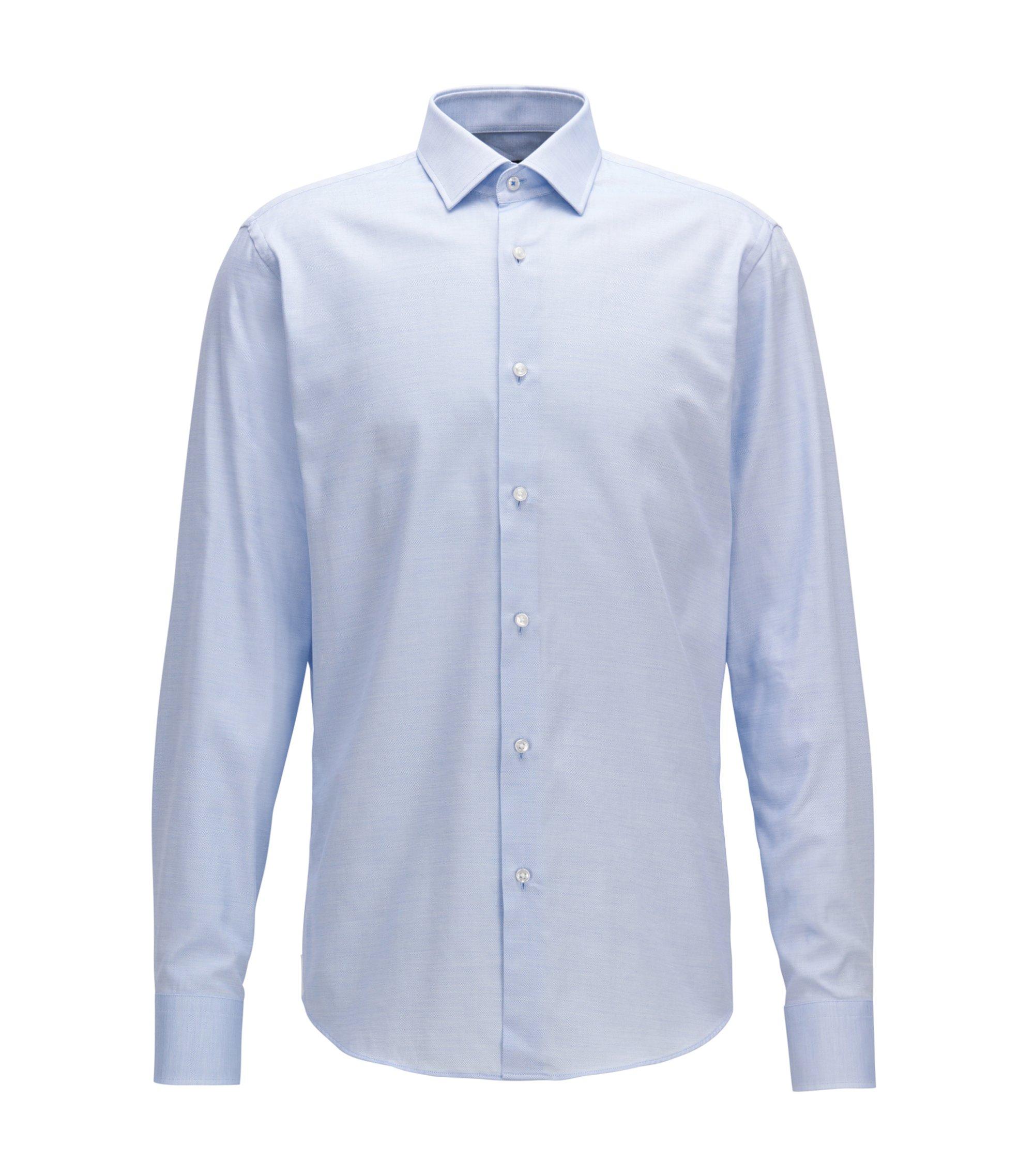 Regular-fit shirt in micro-pattern cotton, Blue