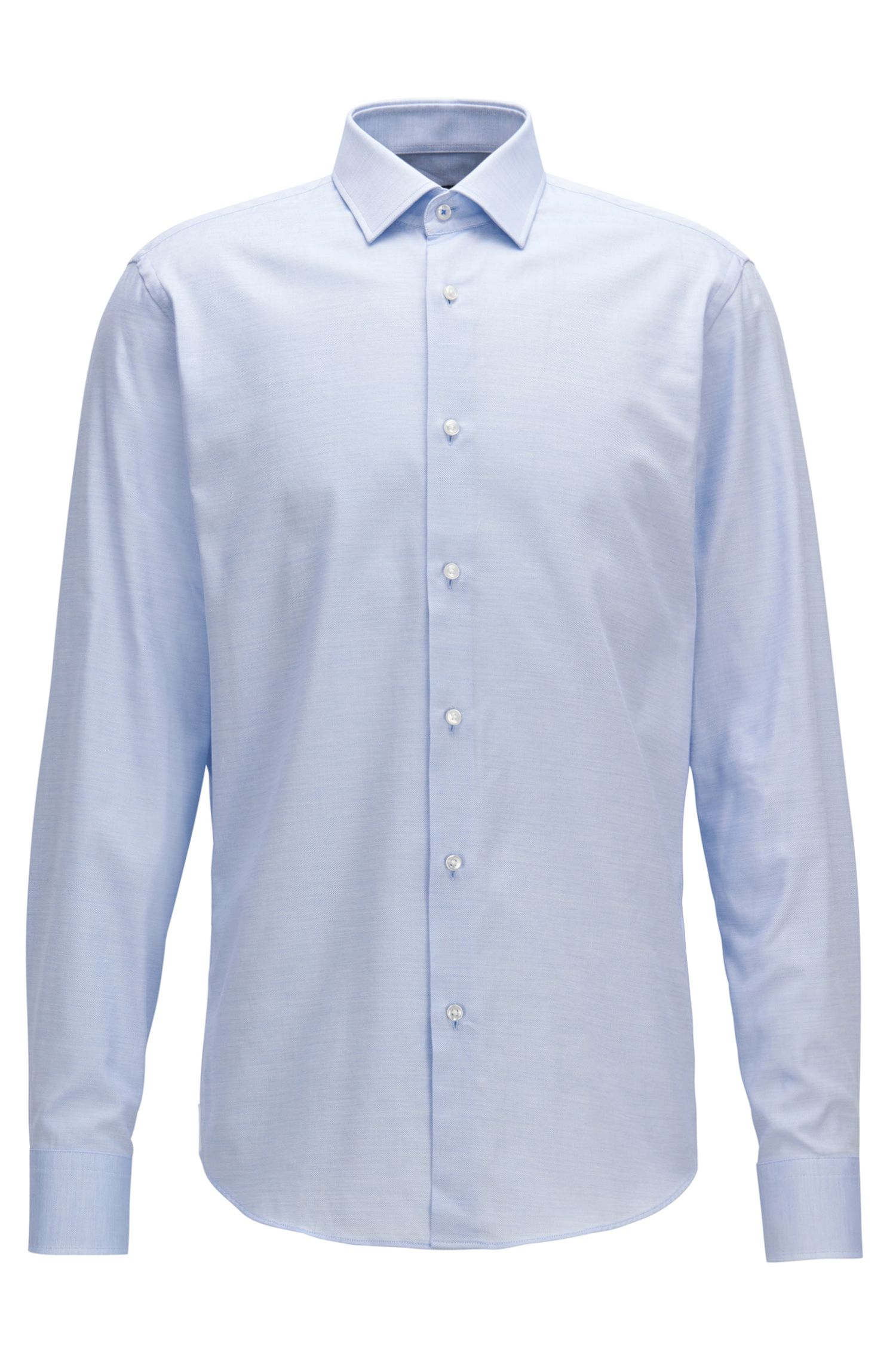 Regular-fit shirt in micro-pattern cotton