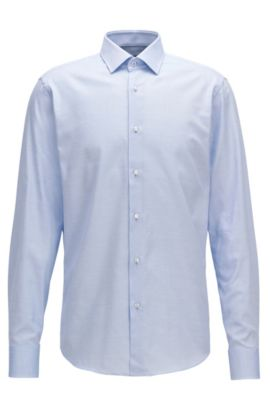 Regular-fit shirt in micro-pattern cotton, Blue