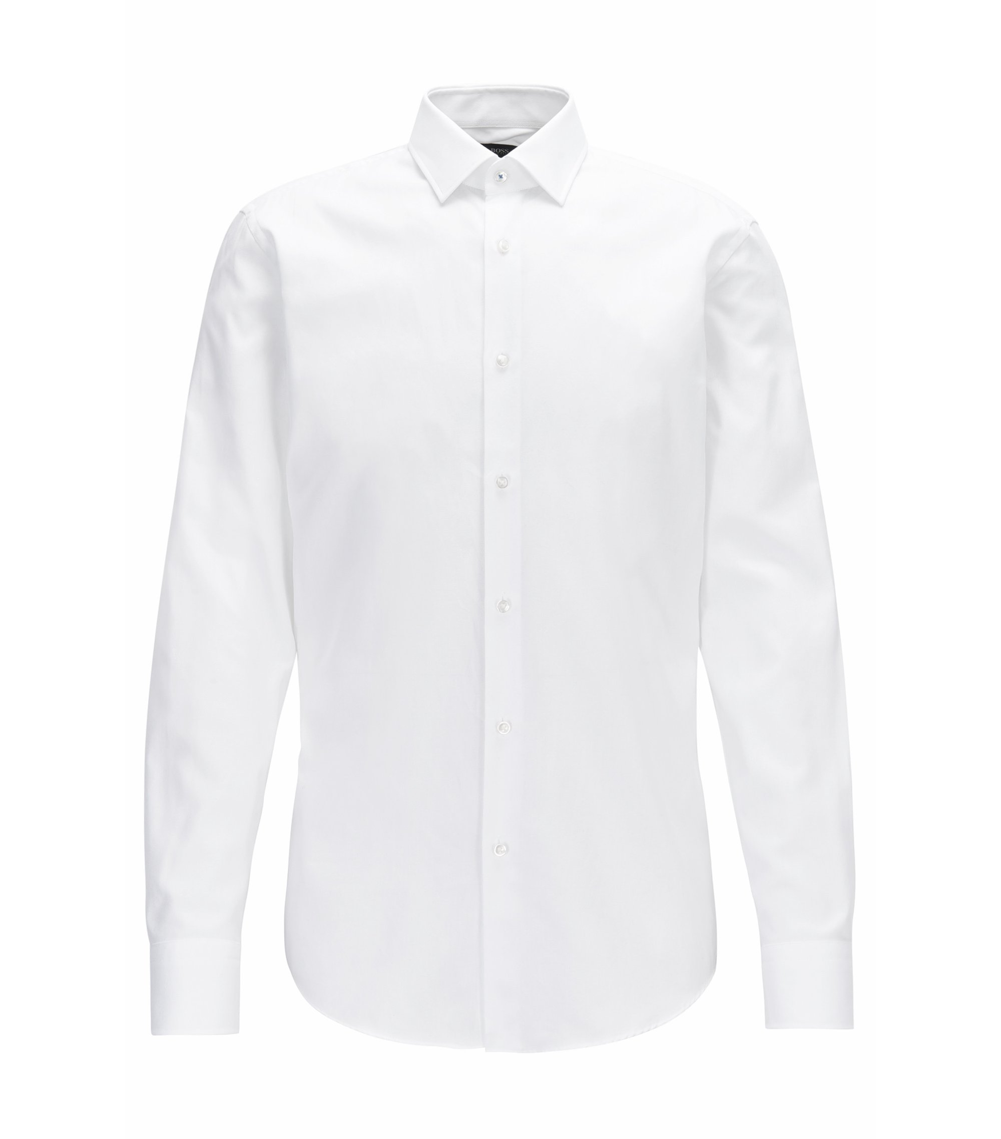 Slim-fit shirt in micro-pattern cotton, White