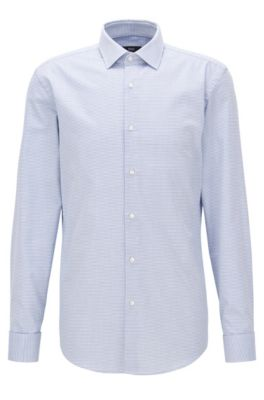 Camicia slim fit in twill di cotone a disegni con polsini doppi, Celeste