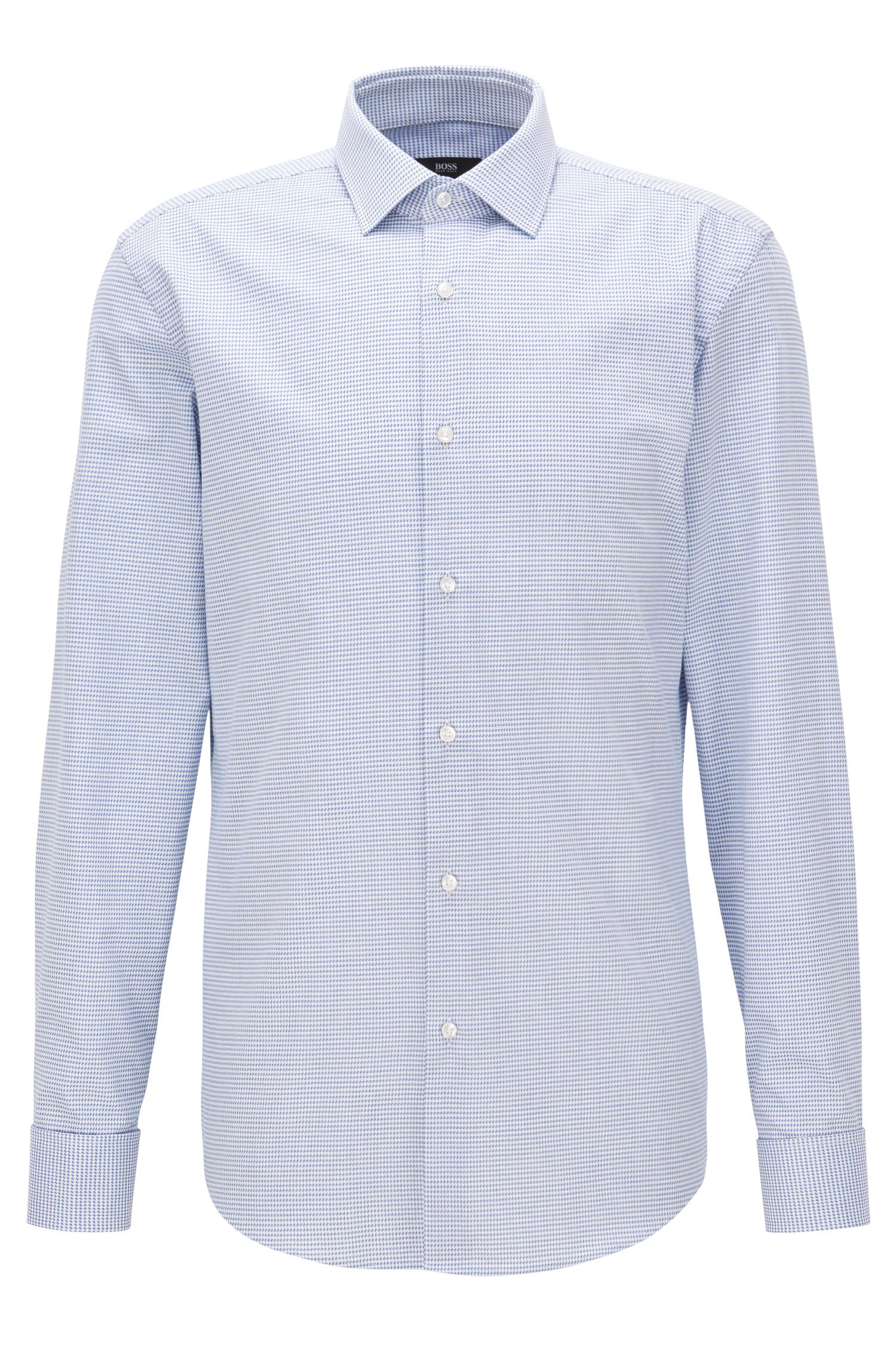 Double-cuffed patterned cotton twill shirt in a slim fit