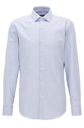 Double-cuffed patterned cotton twill shirt in a slim fit, Light Blue