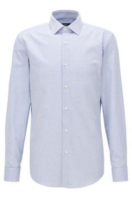 Chemise Slim Fit à poignets mousquetaires en sergé de coton à motif, Bleu vif