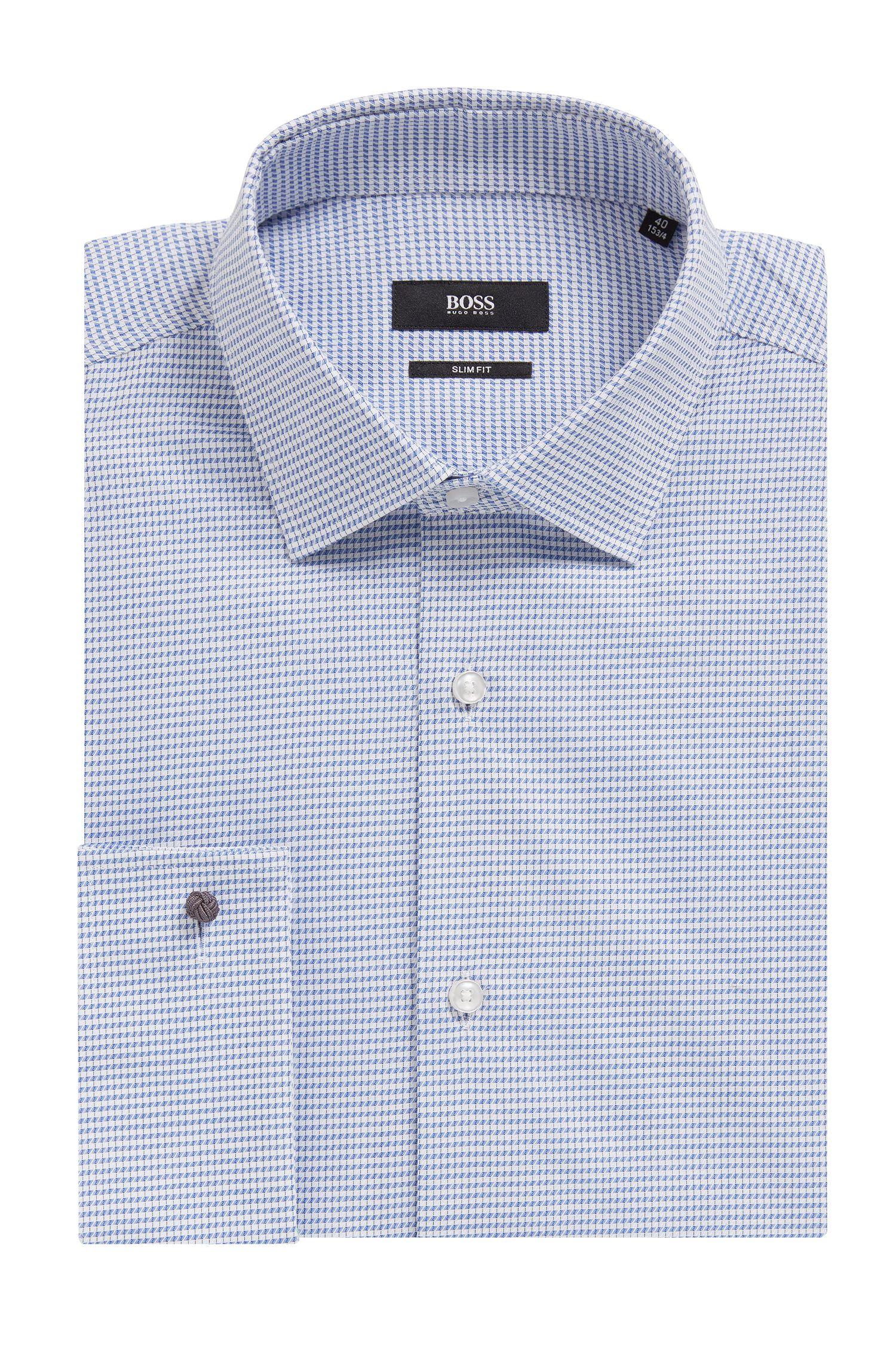 Gemustertes Slim-Fit Hemd aus Baumwoll-Twill mit Umschlagmanschetten