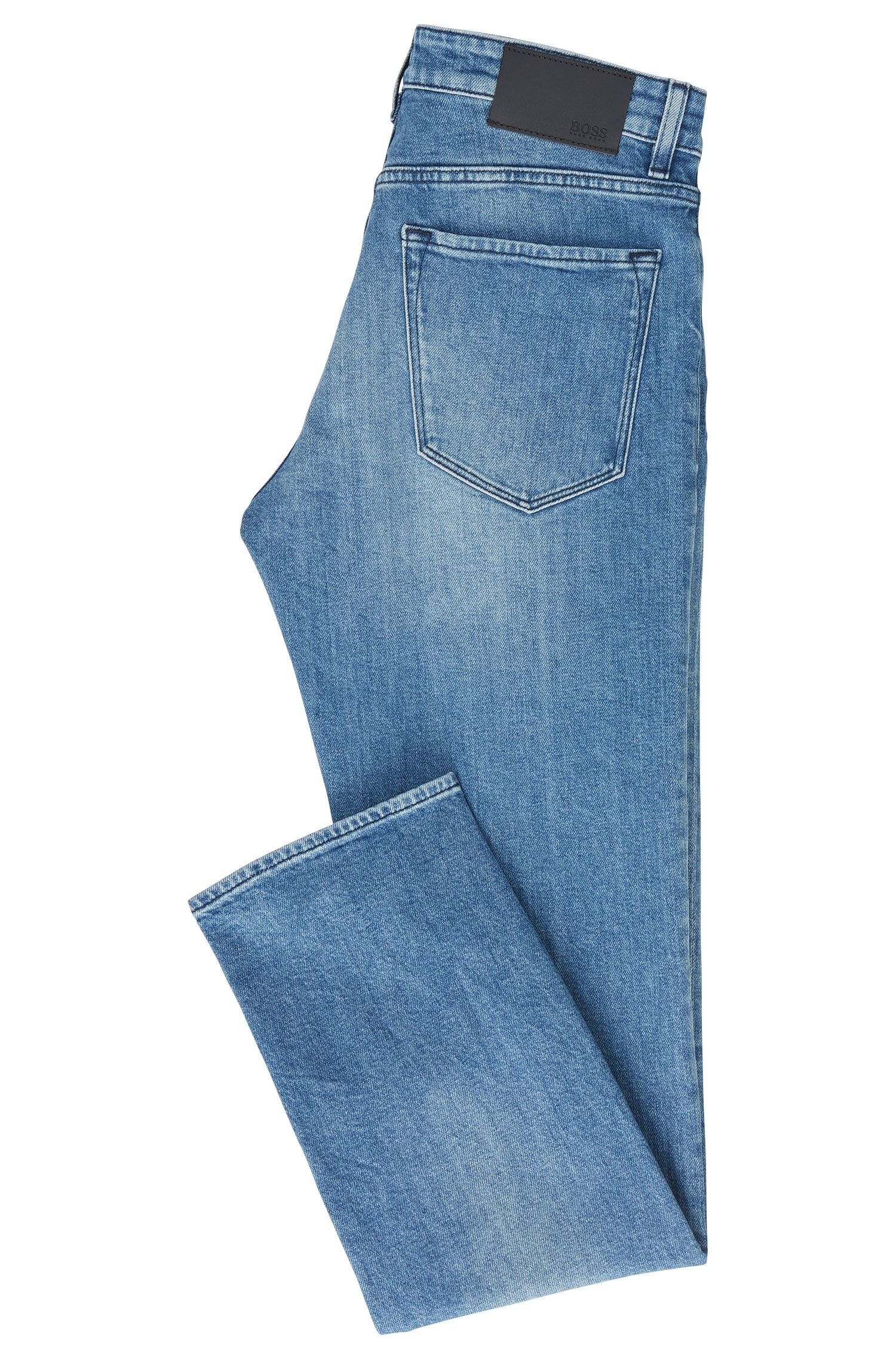 Regular-fit jeans van felblauw stretchdenim