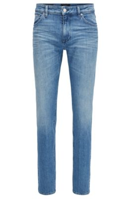 Regular-fit jeans van felblauw stretchdenim, Blauw
