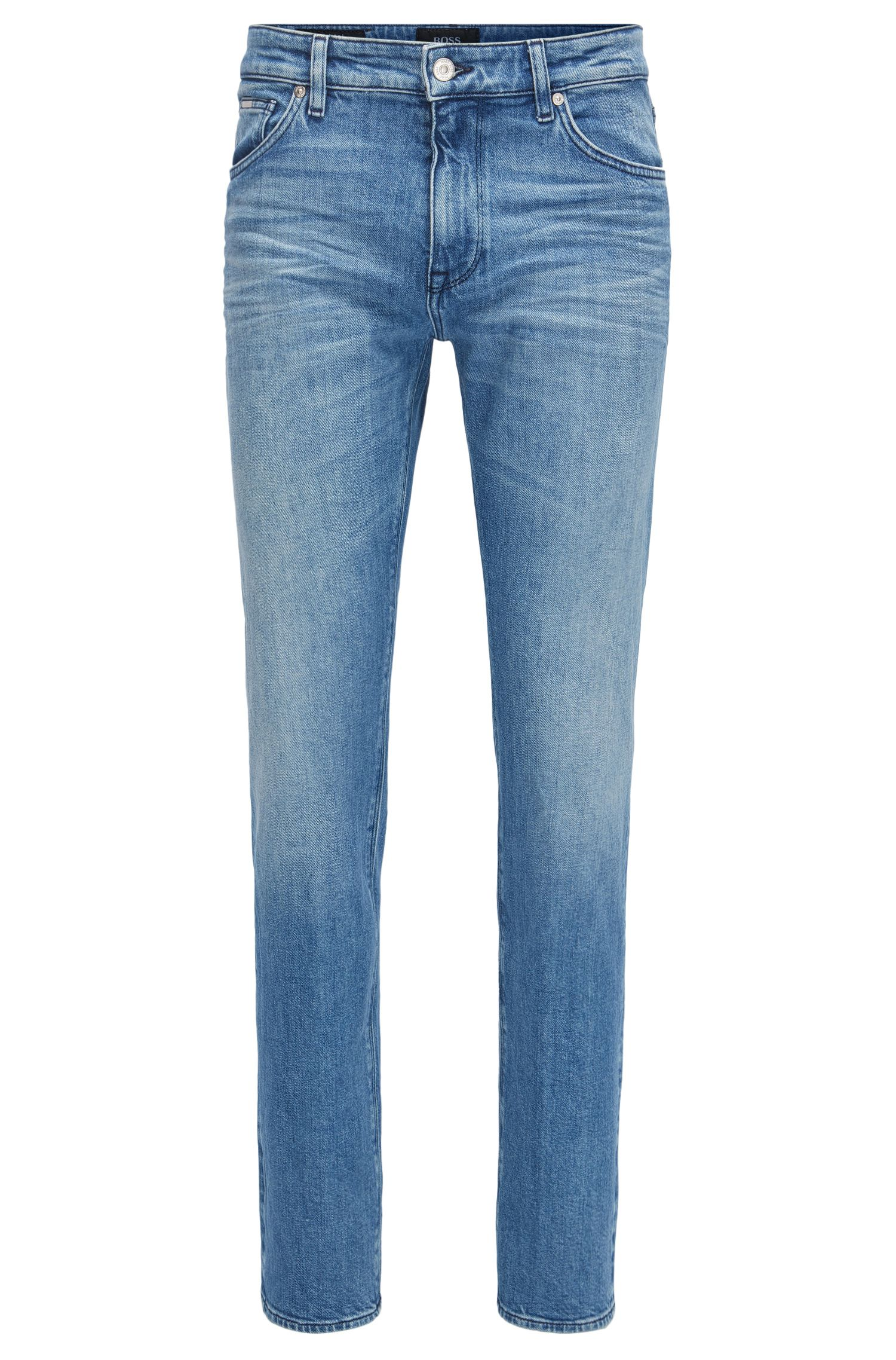 Jeans regular fit in denim elasticizzato blu acceso