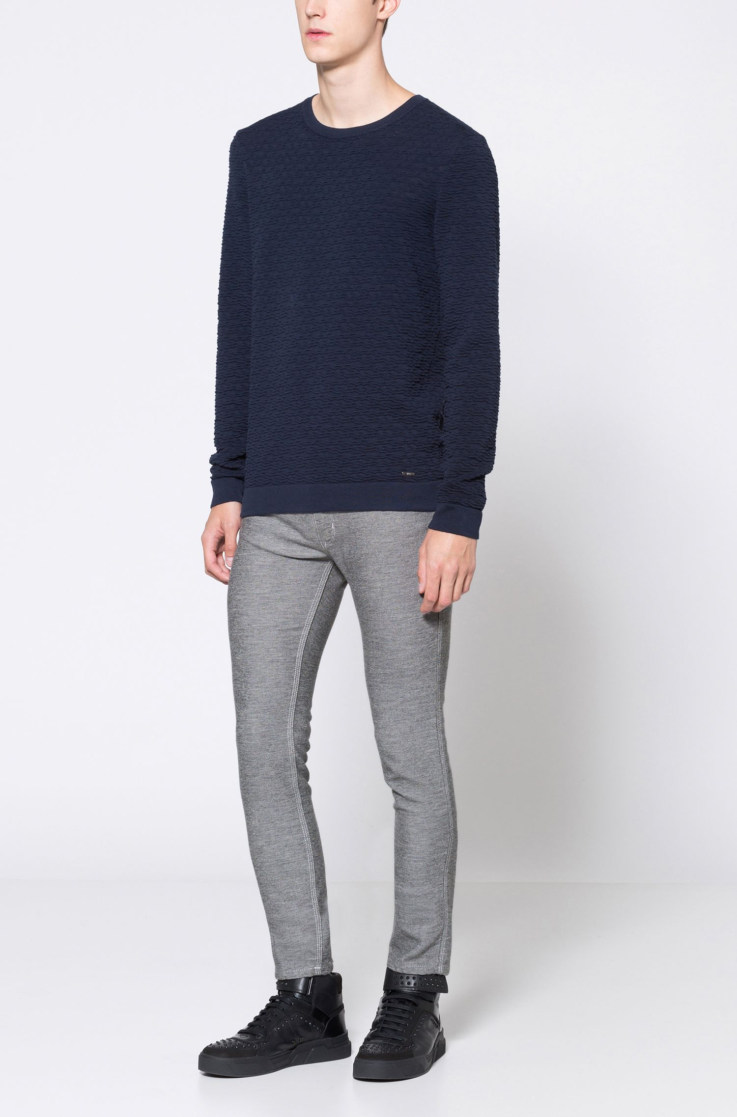 Crew-neck sweater in 3D-textured cotton jacquard