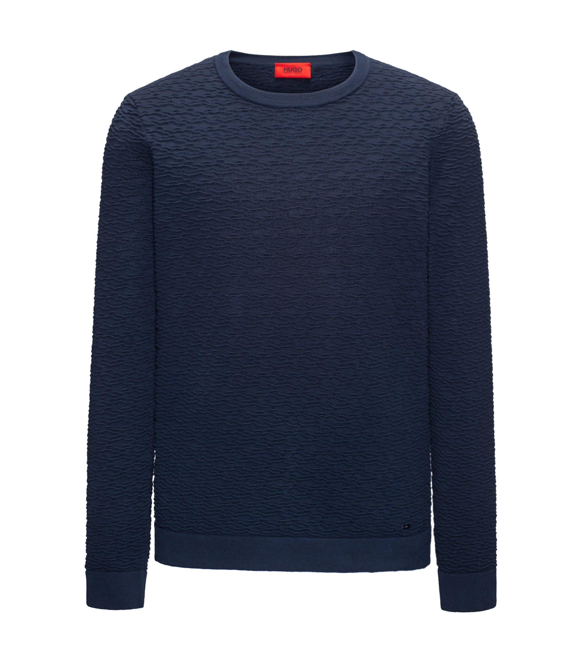 Crew-neck sweater in 3D-textured cotton jacquard , Dark Blue