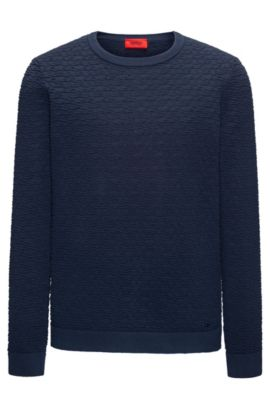 Crew-neck sweater in 3D-textured cotton jacquard , Dark Blue
