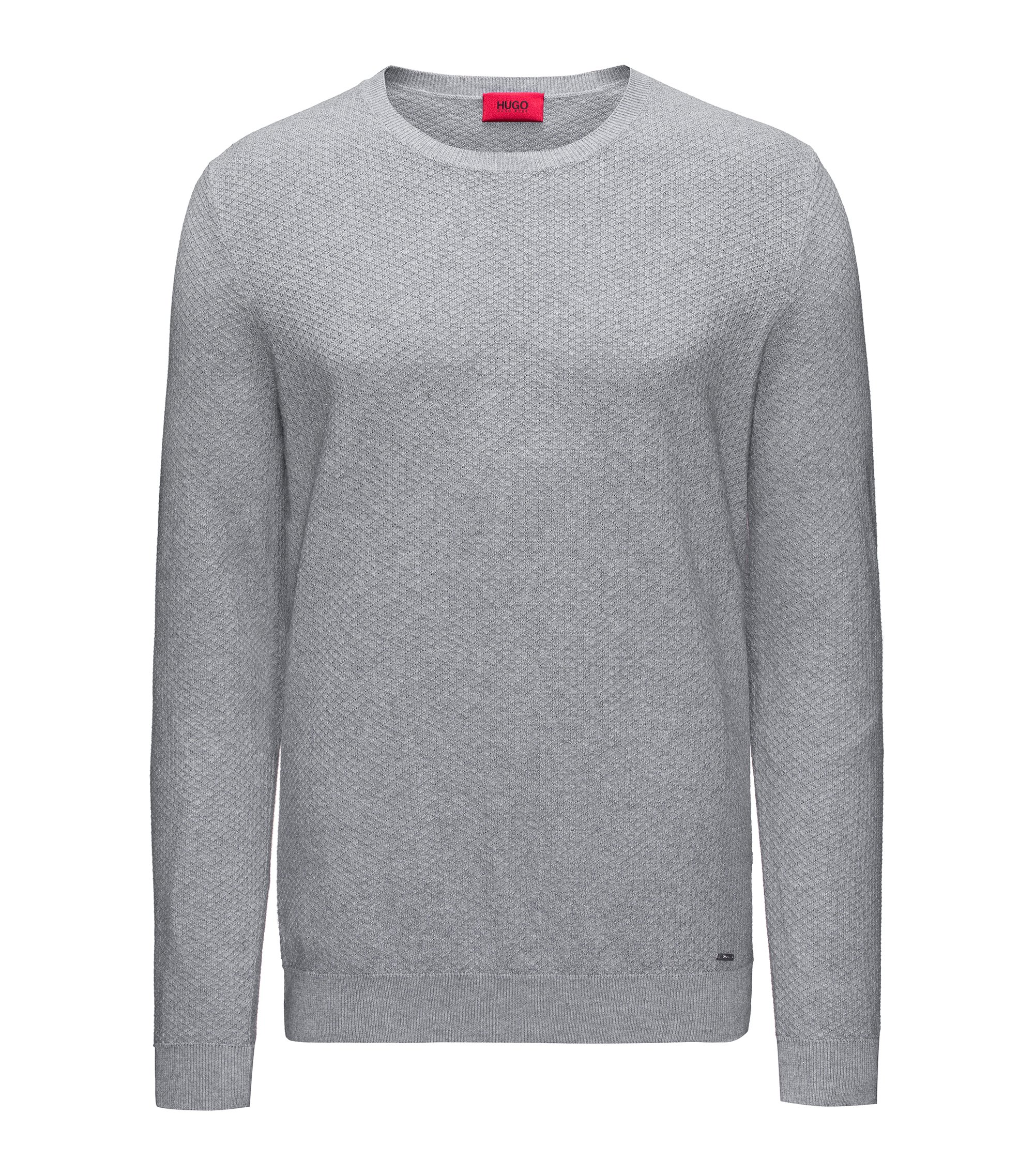 Crew-neck sweater in knitted cotton piqué, Grey