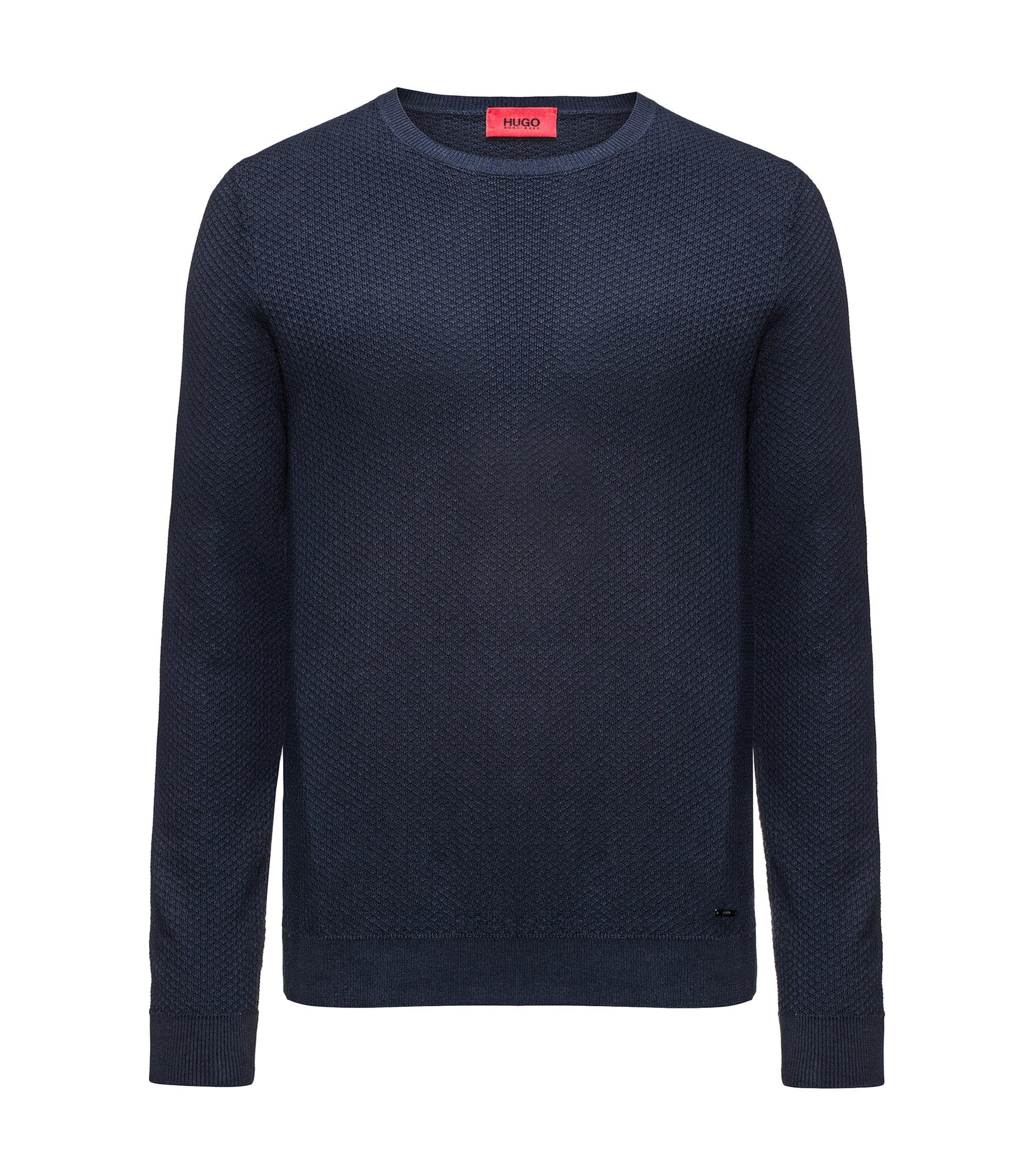 Crew-neck sweater in knitted cotton piqué, Dark Blue