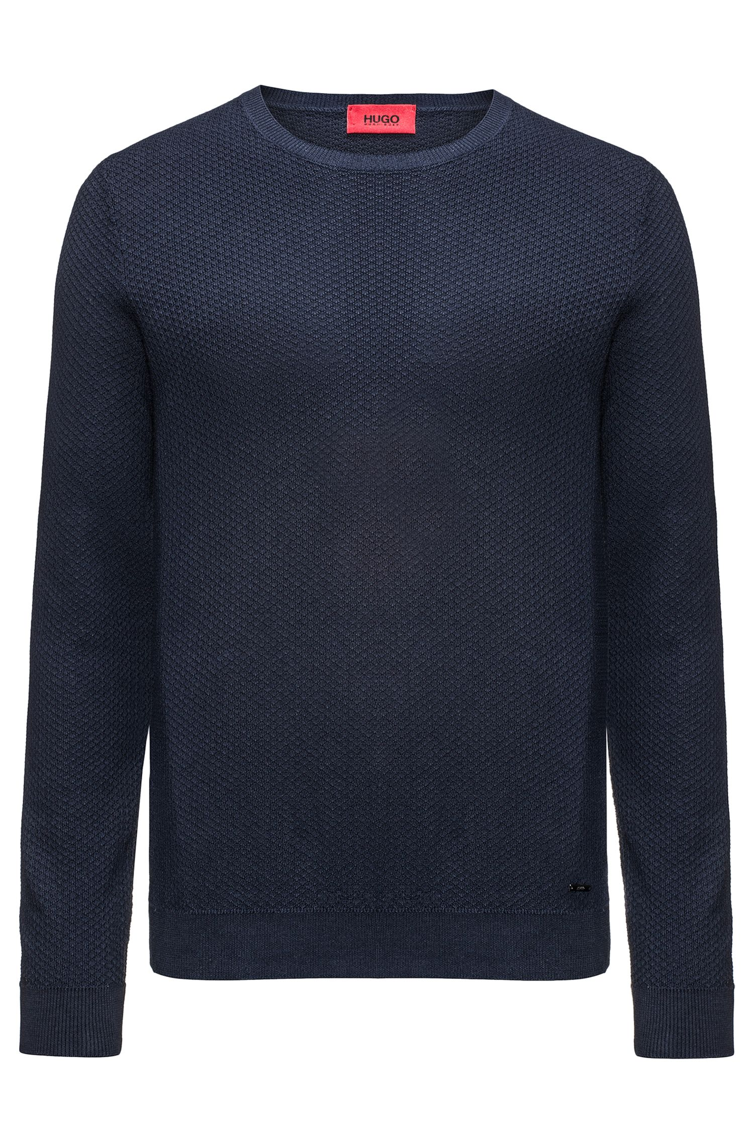 Crew-neck sweater in knitted cotton piqué