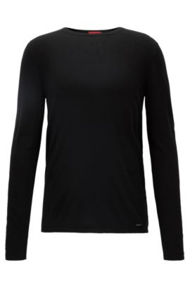 Crew-neck sweater in a cotton blend, Black