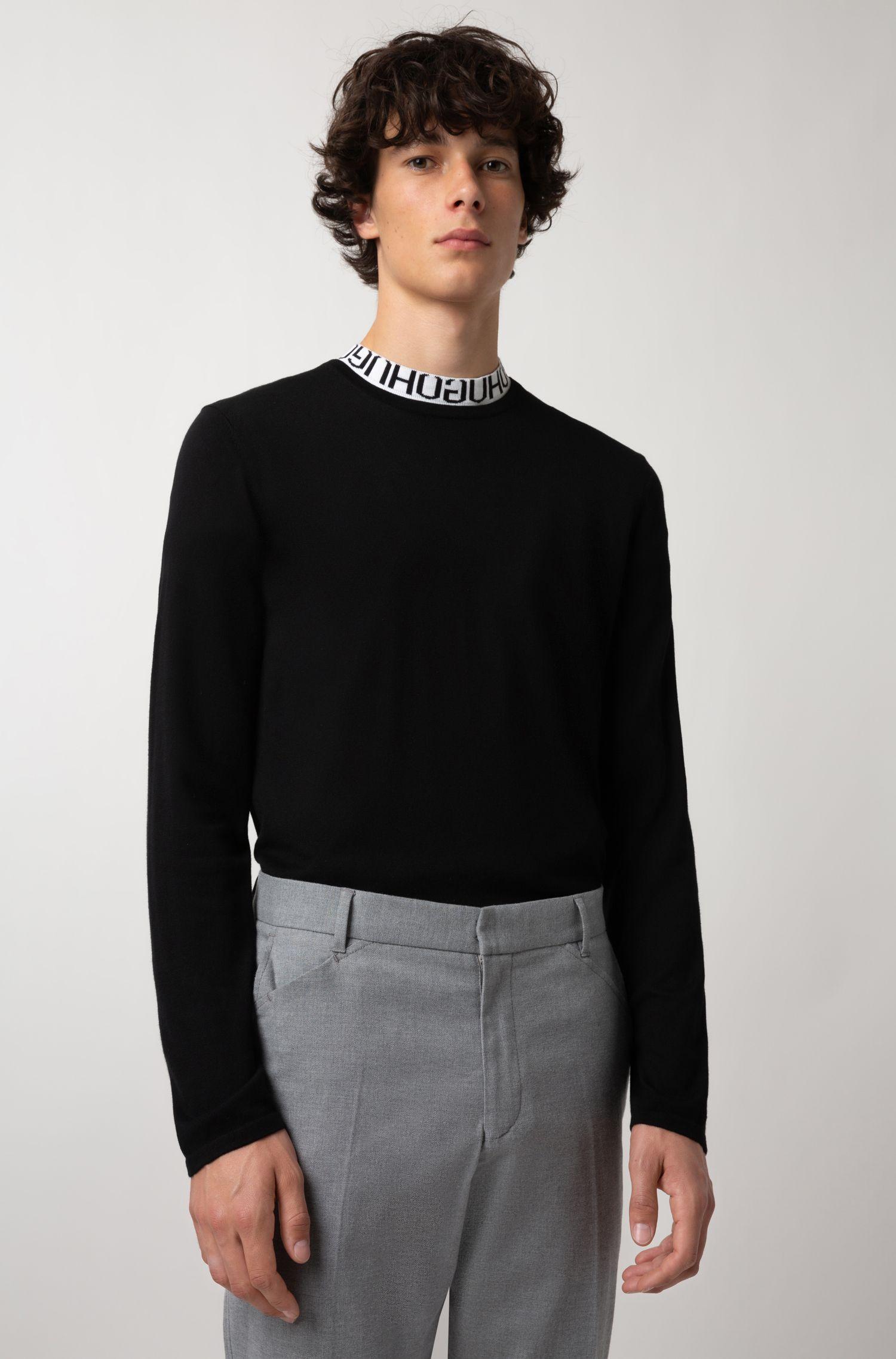 Pullover aus Baumwoll-Mix mit Seide, Schwarz