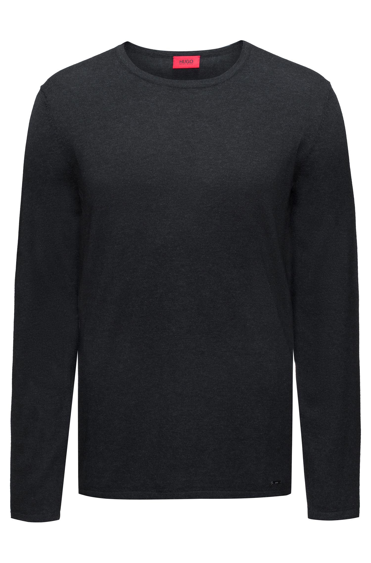Jersey de cuello redondo en mezcla de algodón, Gris oscuro