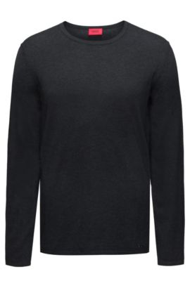 Crew-neck sweater in a cotton blend, Dark Grey